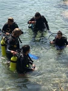 Groupe de plongeurs a Dolphin Reef a Eilat