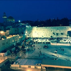 Vue du Mur des Lamentations et la mosquee d'Omar