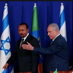 Le premier ministre éthiopien Abiy Ahmed avec Benyamin Netanyahu