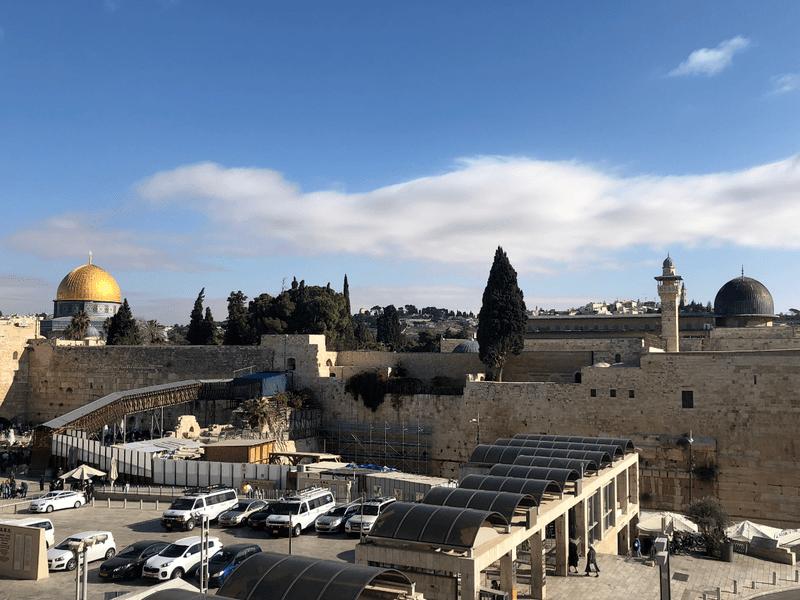 Vue sur le Kotel (mur des Lamentations) et de la Mosquée Al Aqsa à Jérusalem